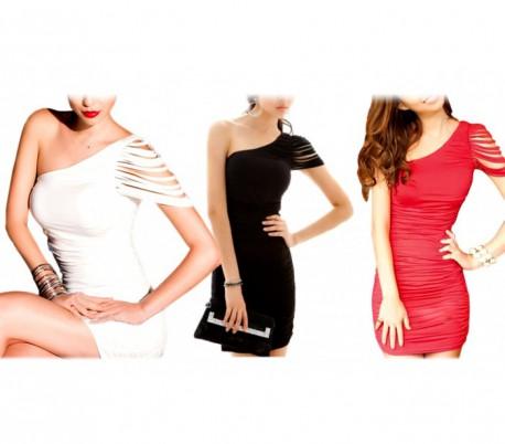 Vestido fiesta cóctel sexy abertura en el hombro mod. TIFFANY - Moda femenina