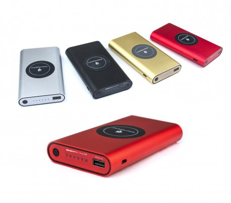Cargador de batería portátil Powerbank 10000 mAh y placa Qi carga inalámbrica