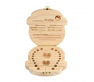 10751 Caja de madera coloreada para los dientes de leche para niño y niña