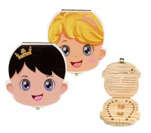 10751 Cajita de madera coloreada para los dientes de leche para niño y niña