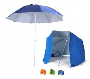 265918 Sombrilla y tienda 2 en 1 para la playa con tela parasol en velcro