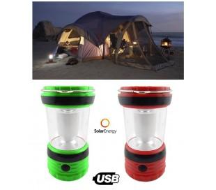 Linterna led funciona con energia solar para camping con USB batería recargable