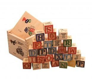 Juego pedagógico 27 piezas caja y cubos de madera animales letras números 3x3 cm