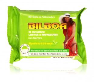 Pack 10 toallitas de té verde Bilboa calmante refrescante y para el bronceado