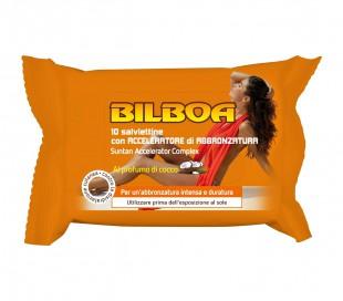 Paquete de 10 toallitas Bilboa con aroma de coco y acelerador de bronceado