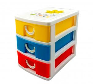 391587 Mini cajonera de 2 Pisos WELKHOME Plástico multicolor 9x13x8 cm