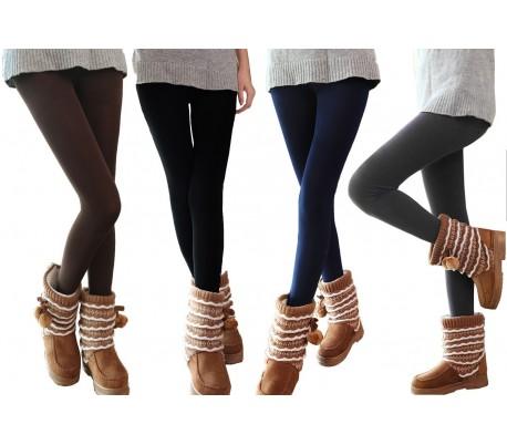 Juego 5 leggings térmicos mujer chica felpa elásticos perfecto invierno