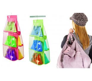 Organizador de bolsos con gancho para armarios y puertas (6 huecos)