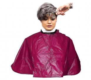 159001 Capa profesional peluquería  bordeaux en pvc 91x68 cm corte y color