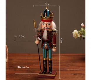 831010 Soldado decorativo TROMPETA 30 cm hecho de madera pintada a mano