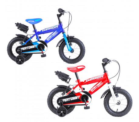 Bicicleta DEMON baby talla 14 para niños de 3 a 6 años con botella de agua