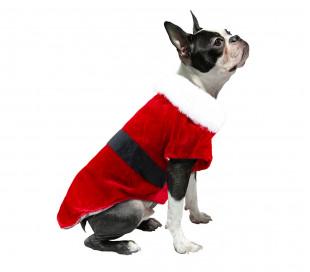 6097 Vestido navideño con cierre de velcro y banda para perros pequeños