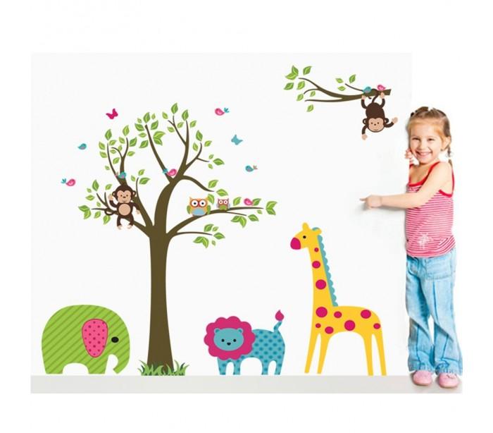 Adhesivo Decorativo Infantil Con Animales 90 X 60 Cm Para