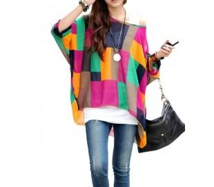 SHAPES Blusa de talle ancho hecho de gasa y con estampado de colores
