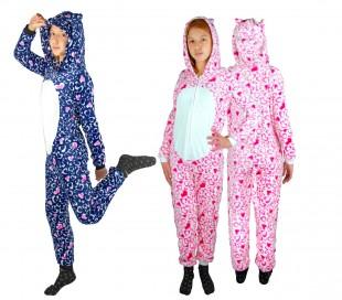 B1717 Pijama entero para niños de felpa modelo BHÚO UNISEX 4 a 14 años