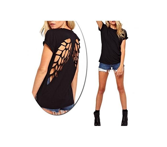 Camiseta negra de mujer con dibujo alas de ngel y con la espalda al a