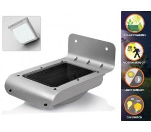 Lámpara LED solar al aire libre con sensor de movimiento y luz crepuscular