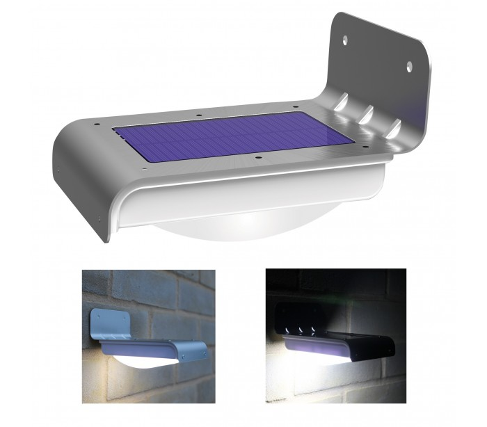 L mpara led solar al aire libre con sensor de movimiento y for Lampara solar led