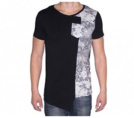 4836b2a709 Camiseta asimétrica de manga corta para hombre mod. INSANE estampado de  flores. Referencia MWS1163 2.  Últimas unidades en stock