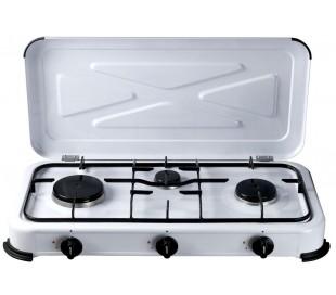 871702 Cocina gas portátil de 3 fogones DICTROLUX on tapa de picnic de 57x27CM