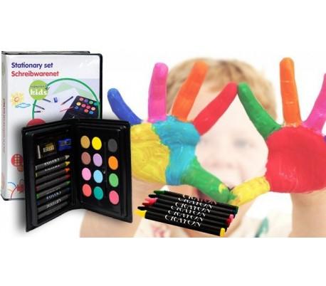 Estuche infantil 24 piezas con acuarelas - cera para pintar y dibujar
