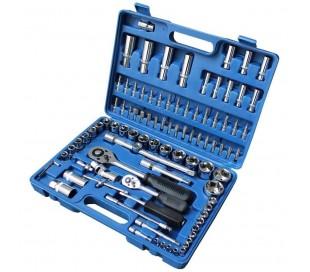 Maletn con llaves combinadas 95 piezas - carracas - llaves de vaso - puntas - cr-v