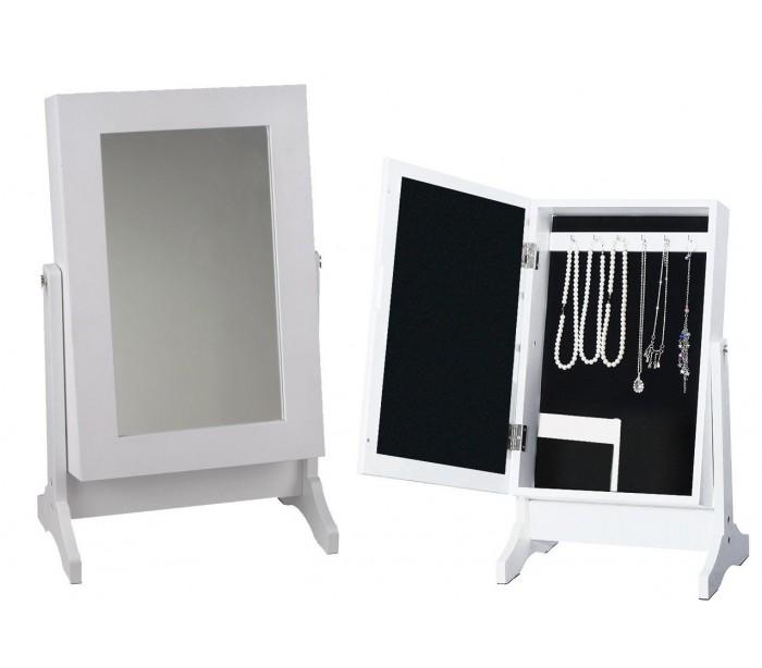 Organizador Armario Baño:Organizador de joyas con espejo joyero en forma de armario (37 x 19 cm