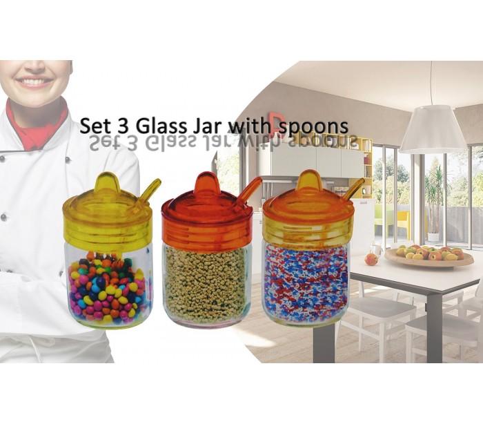 Set 3 recipientes 200ml de cristal para especias y - Barattoli cucina colorati ...
