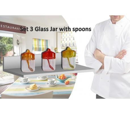 Set 3 recipientes 200ML de cristal para especias y alimentos 6,5 X 11 cm con tapa y cuchara incluída