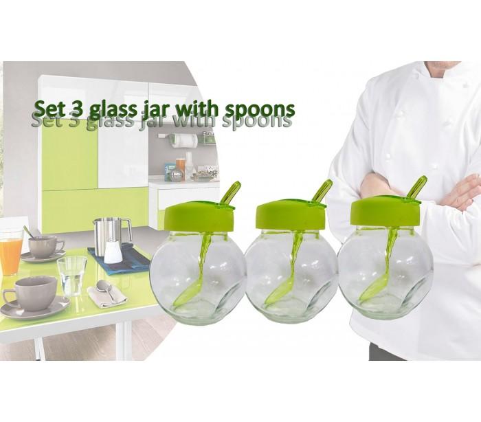 set recipientes ml de cristal para especias y alimentos x x cm