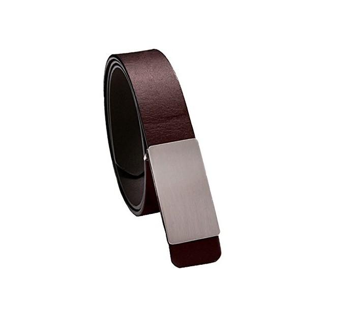 Cinturón de cuero para hombre con hebilla plateada satinada y 110 CM ... a81abccbe3a0