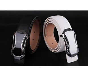 Cinturón de cuero para hombre con hebilla plateada - Mod. ANYWAY