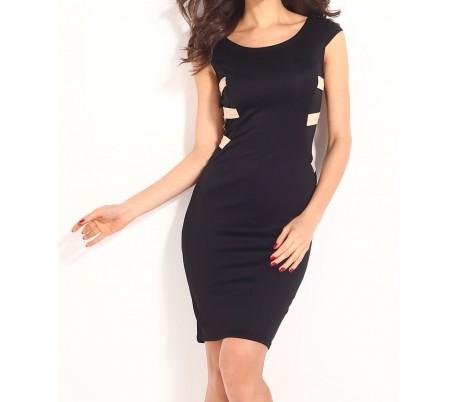 Vestido de mujer ajustado de tubo color negro con espalda de rayas doradas mod. SOLANA - Moda femenina