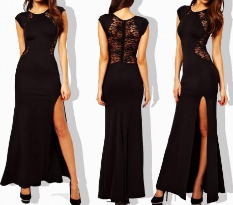 Vestido largo ajustado de color negro con encaje en la espalda y elegante abertura lateral mod. LEASY BLACK - Moda femenina