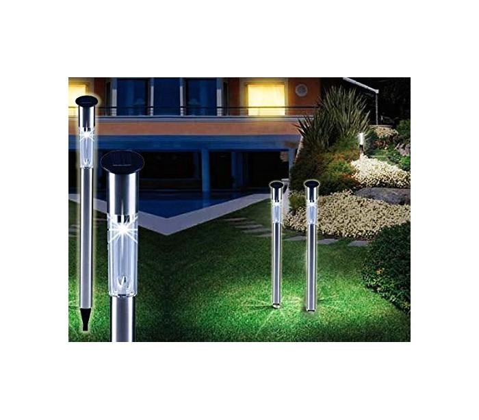 Set 2 faroles solares de jard n 1 led y 70cm de largo - Antorchas solares para jardin ...