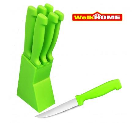 Set de 6 cuchillos de 12 CM con corte de sierra y margo ergonómico + cómodo soporte - WELKHOME