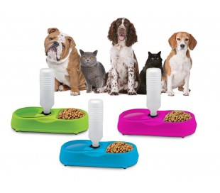 Comedero para mascotas - Dispensador de alimento y bebida para animales domésticos