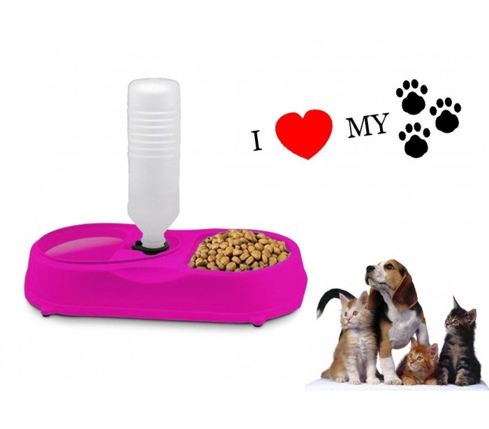 Comedero para mascotas dispensador de alimento y bebida for Dispensador de comida para perros