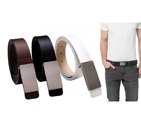 5b030a4f11e9b Cinturón de cuero para hombre con hebilla plateada satinada y 110 CM de  longitud - mod