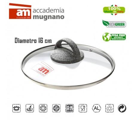 Tapa de vidrio 32CM para ollas cacerolas y sartenes - Accademia Mugnano CUORE DI PIETRA