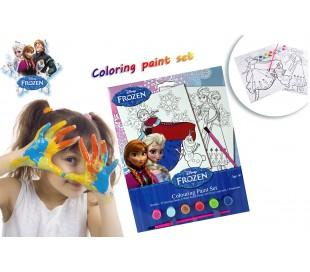 Set de acuarelas con motivo de Frozen con dibujos para rellenar - reino del juego COLORING PAINT SET
