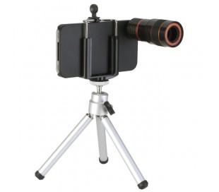 Tripode para iphone 4 lente optica telescopica 8x zoom
