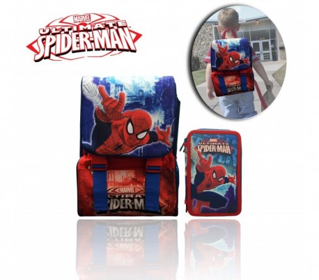 Kit escolar (incluye mochila y material)  MV16168 - SPIDERMAN de MARVEL