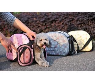 Transportín plegable con correa de hombro para mascotas perros gatos y roedores (40x28x33cm)