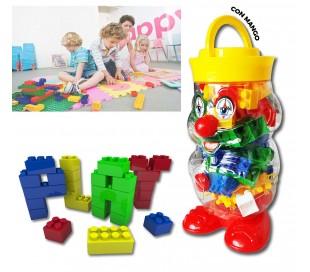 Juego de construcción de 56 piezas con ladrillos de colores en maletín en forma de payaso 105246