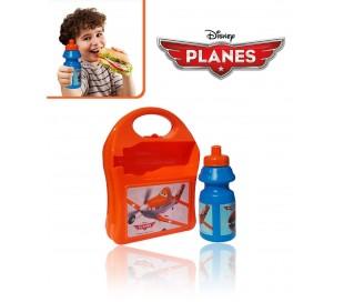 Kit fiambrera infantil colegio motivo DUSTY PLANES incluye botella-553-20255