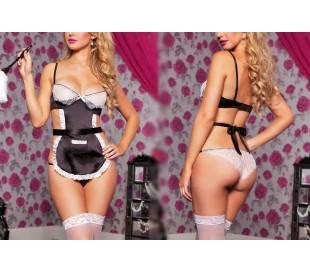 Conjunto sexy picardías mod. CAMERIERA - camarera babydoll con braguita y delantal incluido MWS AHEAD