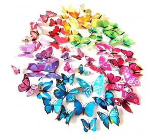 Kit 12 mariposas 3D adhesivas para pared - Decoración y muebles para el hogar