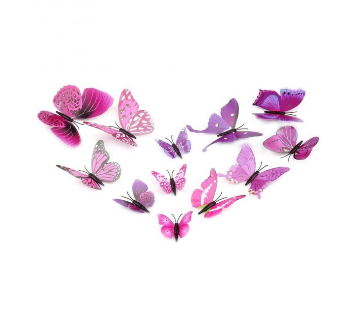 Kit 12 mariposas 3d adhesivas para pared decoraci n y for Muebles y decoracion para el hogar