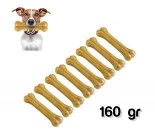 Pack 8 piezas / Delicioso snack para perro en forma de HUESO (160gr - 100% piel de cerdo) - Antiestrés